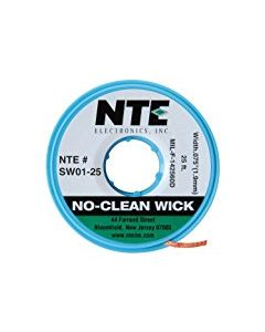 "NTE SW01-25 No-Clean Wick Desoldering Braid #3 Green 0.075"" x 25 ft."